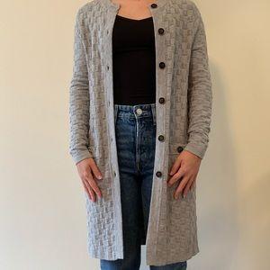 Box knit long cardigan